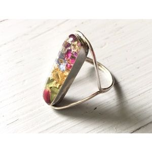 Vintage Dried Flower Sterling Ring